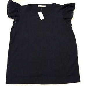 Loft NWT Navy Blue Knit Cap Sleeve Shirt